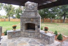 outdoor fireplace with seating wall - Google Search