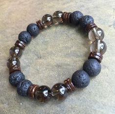 10mm Beaded Bracelet Volcanic Lava Rock Smoky Quartz Natural