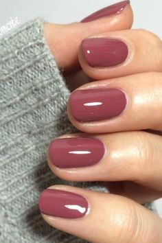 "A berry mauve was pinned over times on the social media portal. The name of the nail polish: ""Angora Cardi"" from Essie. A berry mauve was pinned over times on the social media portal. The name of the nail polish: ""Angora Cardi"" from Essie. Mauve Nails, Pink Nails, My Nails, Red Nail, Nails Rose, Green Nails, Fall Nail Colors, Nail Polish Colors, Mauve Nail Polish"