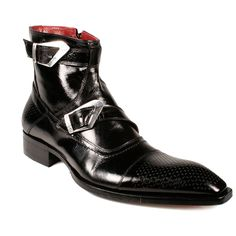Jo Ghost Boots Black Square Toe Leather Shoes W Buckle 437 (JG1528)   Color: BlackMaterial: Leather Hardware: Silver Made with Italian Calf skin leather and hand painted by the shoe maker. Comes complete with Box, shoes horn and dustbag Made In Italy