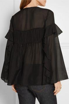 Black silk-georgette Slips on 100% silk Dry clean