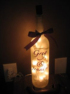 Clear Lighted  Wine Bottle Wedding Shower  Party Home Decor Personalized Custom Gift on Etsy, $5.00
