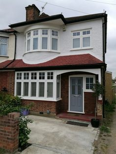 Another beautiful bay window installation by The Shutter Studio Porch Uk, House With Porch, House Front, House Shutters, House Windows, Window Shutters, 1930s House Exterior Uk, House Extension Design, House Design