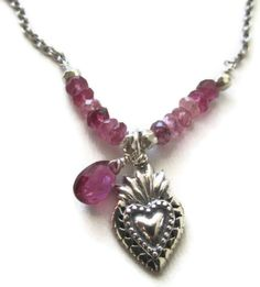 #Pink tourmaline and sterling silver milagro sacred #heart #necklace