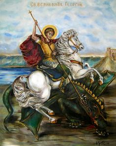 St. George Feast Day April 23 Barbarian King, Saint George And The Dragon, St Georges Day, Christian Paintings, Bible Qoutes, Byzantine Icons, Dinosaur Art, Catholic Saints, Ap Art
