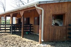 "When I have a ranch of my own, I'll build a version of this with a big field attached for our 2 bonded ""pet"" horses who aren't fans of being held up in a stall but would have protection from storms. Plus there would be room to store their own hay and special grain."