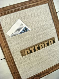 Burlap Wall Organizer in Wooden Frame
