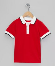 Take a look at this Crimson & White Polo - Toddler & Boys by Klever Kids on #zulily today!