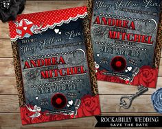 Rockabilly Wedding Save the Date Card red and White Polka Dot with Denim and Leopard Print DIY Wedding Announcement Offbeat Invite by OddLotEmporium on Etsy https://www.etsy.com/listing/231415020/rockabilly-wedding-save-the-date-card