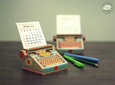 Check out these awesome DIY printable calendars in the form of mini typewriters for your desktop. Just download, print, cut and fold. http://www.thisiscolossal.com/2014/01/diy-printable-paper-typewriter-calendars