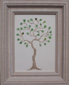"Real Sea Beach Glass Art - Nautical Decor ""Tree"""