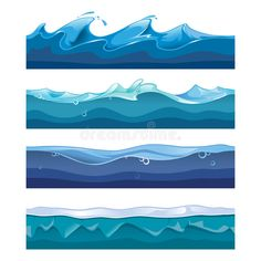 Buy Seamless Ocean, Sea, Water Waves Vector by on GraphicRiver. Seamless ocean, sea, water waves vector backgrounds set for ui game in cartoon design style. Water Waves, Sea Waves, Wave Drawing, Ocean Illustration, Sea Storm, Waves Vector, Water Effect, Cartoon Design, Waves