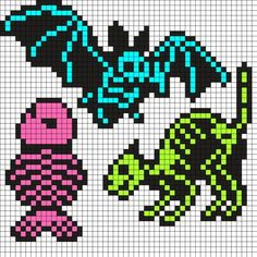 Skeletal Bat Cat And Fish Perler Bead Pattern / Bead Sprite Melty Bead Patterns, Kandi Patterns, Pearler Bead Patterns, Perler Patterns, Beading Patterns, Loom Beading, Pixel Art Templates, Perler Bead Templates, Diy Perler Beads