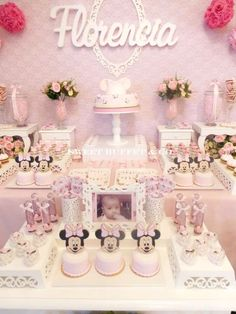 Sweet Minnie Mouse shabby chic birthday party! See more party ideas at CatchMyParty.com!