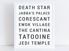 Star Wars Print  Minimalist Locations  by NicholeMariePrintery