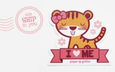 02_sticker kawaii stationery tiger party favor valentine love cute girls stamps idea gift pencil label big sticker pink