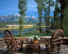 The West Solitude Residence in Jackson Hole, WY is a log cabin dream. Capturing great views of the Tetons, this home is a slice of heaven. Outdoor Spaces, Outdoor Living, Cabin In The Woods, Outdoor Landscaping, Simple House, Great View, Log Homes, My Dream Home, Dream Homes