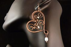 Beloved - Wire Wrapped Copper Earrings, Containing Pearls (Natural Freshwater) and Copper Beads