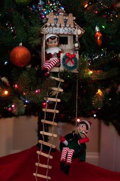 Elf on the Shelf Idea: Elf Christmas Tree House