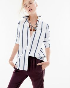 02c255191bcf1 AUG '15 Style Guide: J.Crew women's boy shirt in bold stripe,