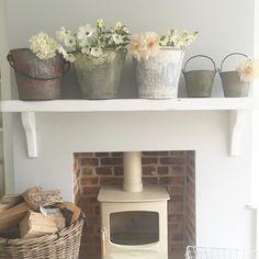 Living Room White, Living Room Kitchen, Living Rooms, Wood Burner Fireplace, Cottage Lounge, Log Burning Stoves, Sitting Room Decor, Living Room Styles, Bedroom Fireplace