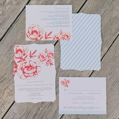 Blue striped and red floral wedding invitations // Mademoiselle Fiona Photography // Smitten on Paper // http://www.theknot.com/weddings/album/a-fun-relaxed-wedding-in-bridgehampton-ny-129300