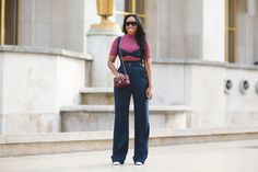 """The Best """"What IS She Wearing?"""" Looks From Paris #refinery29  http://www.refinery29.com/2015/10/95202/paris-fashion-week-spring-2016-street-style-pictures#slide-76  The high-waisted trouser shows no signs of slowing...."""