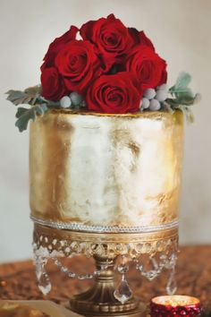 Gold Foil Wedding Cake with Red Roses on Gold Cake Stand See more here: http://www.opulenttreasures.com/shop/chandelier-round-cakes-set-of-3