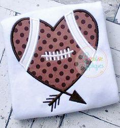 Football Heart Arrow Applique $ REPIN THIS then click here: https://creativeappliques.com/