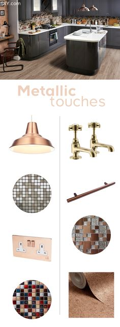 Metallics are one of the hottest kitchen trends of Choose shimmering ceramic tiles, gold kitchen accessories and stylish statement lighting to achieve this ultra-modern look in your own kitchen. Kitchen Living, Gold Kitchen, Benchmarx Kitchen, Living Room, Kitchen Ideas, Copper Kitchen Decor, Industrial Style Kitchen, Kitchen Planning, Kitchen Designs