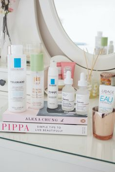 Morning skincare routine for blemish-prone dehydrated skin.
