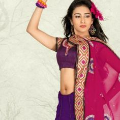 Deep Pink & Deep Purple Faux Georgette Embroidered Lehenga Saree  buy on www.Readyforshop.com