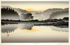 Silent Lake by Shufu Miyamoto.  An original woodblock print, signed and numbered in pencil.