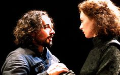 Aidan McArdle's Richard faces Lady Anne (Aislin McGuckin) at the Young Vic Theatre in 2001. A Royal Shakespeare Company production.Picture: Donald Cooper