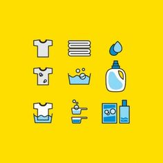 Cleaning services icons vector set Laundry Logo, Laundry Icons, Laundry Shop, Laundry Design, Typography Design, Branding Design, Logo Design, Cleaning Icons, Cleaning Services
