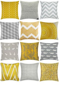 Yellow and Grey Cushions Inspiration Board. Yellow and grey cushions in different textures and patterns. Get great cushion ideas for your living room or bedroom Yellow Gray Bedroom, Grey And Yellow Living Room, Grey Bedrooms, Mustard And Grey Bedroom, Cushion Inspiration, Living Room Inspiration, Cushion Ideas, Inspiration Boards, Living Room Grey