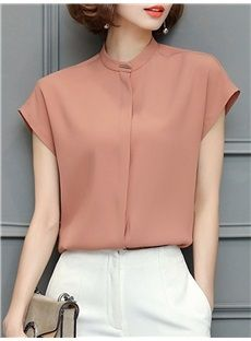ゆったり無地スタンディングネック半袖エレガント夏レディースブラウス Blouses For Women, Blouse Outfit, Peplum Blouse, Sleeveless Shirt, Shirt Dress, Fancy Blouse Designs, Business Casual Outfits, Work Attire, Fashion Clothes
