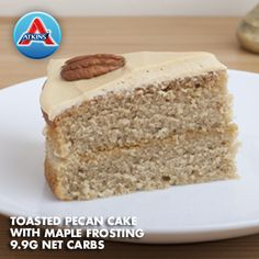 Good for Phases 3 this Toasted Pecan Cake hits the spot for a post-dinner treat. Atkins Desserts, Atkins Recipes, Low Carb Deserts, Low Carb Sweets, Hcg Diet, Atkins Diet, Low Carb Diet Plan, Low Carb Keto, Sugar Free Desserts