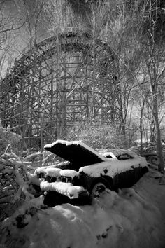 Love this snowy abandonment - abandoned amusement park -  Big Dipper, Chippewa Lake Park,OH