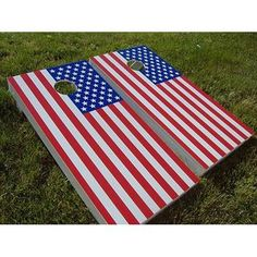 American Flag USA Game Boards GoSports Regulation Size Solid Wood Cornhole Set