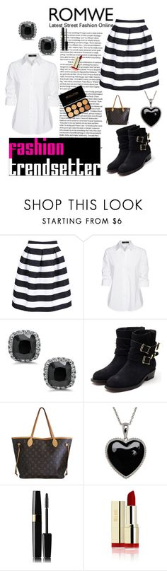"""""""romwe <<333"""" by magic001 ❤ liked on Polyvore featuring Steffen Schraut, Delpozo, Rupert Sanderson, Louis Vuitton, Lord & Taylor, skirt, blackandwhite and romwe"""