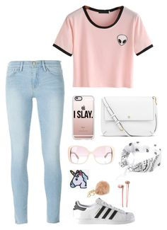 """""""Enjoy your Day"""" by summerloveforever335 on Polyvore featuring Frame Denim, adidas, Casetify, Tory Burch, Hipstapatch, MICHAEL Michael Kors, Valentino and Hollister Co."""