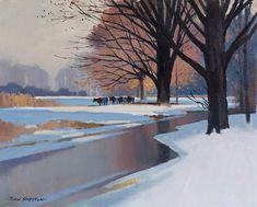 """John Skelton """"Cattle in Winter, Phoenix Park, Dublin"""" Oil on board, x Dublin, Irish Art, Cattle, Phoenix Park, Sculpture, Gallery, Winter, Outdoor, Paintings"""