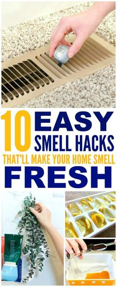 These 10 easy ways to make your home smell good and fresh are THE BEST! I'm so happy I found these AMAZING tips! Now I have a great way to make my home smell great with these smell hacks! Definitely pinning!