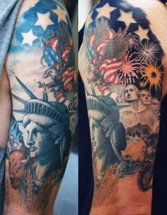 This cool sleeve mixes in monuments from all over the county as well as a buffalo. #InkedMagazine #tattoo #tattoos #patriotic #liberty