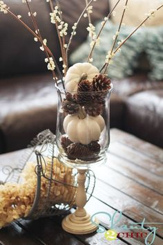 white pumpkins and natural elements...lovely for fall