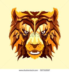 Vector fire autumn tiger with playful face and orange/brown hair. Can be used for your prints or poster or something ales. Isolated on yellow background. Orange Brown Hair, Yellow Background, Lion Sculpture, Fire, Autumn, Statue, Prints, Poster, Fall