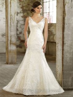 Trumpet/Mermaid Straps Lace Taffeta Sweep Train White Appliques Wedding Dresses at Millybridal.com