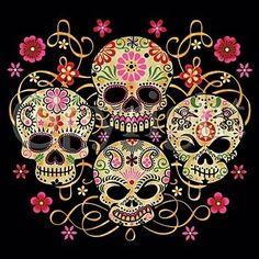 sugar skulls Skull Reaper psychedelic hippie Art Poster Print Postcard ☮~ღ~*~*✿⊱ レ o √ 乇 !! ~