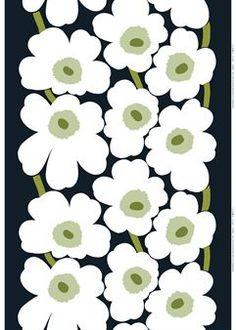 Unikko black-white fabric - black/white/green - Marimekko